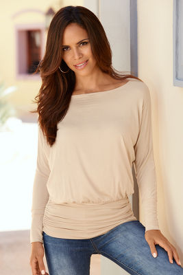 Wide-Neck Blouson Top