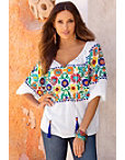 Embroidered Floral Tassel Top Photo