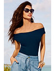 Ribbed Off-the-shoulder Sleeve Sweater Photo