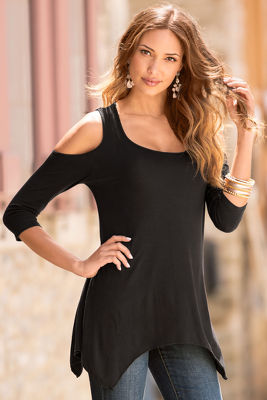 Cold-shoulder swingy tunic top