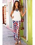 Scarf Print Slit Maxi Skirt Photo