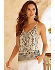 Linen Strappy Embellished Tank Top Photo