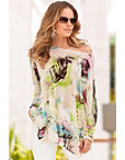 Butterfly Garden Off-the-shoulder Sweater Photo