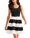 Stripe Belted Dress Photo