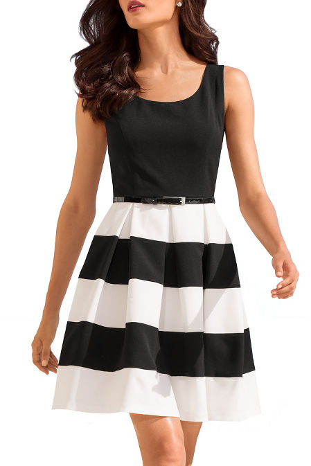 Stripe belted dress image