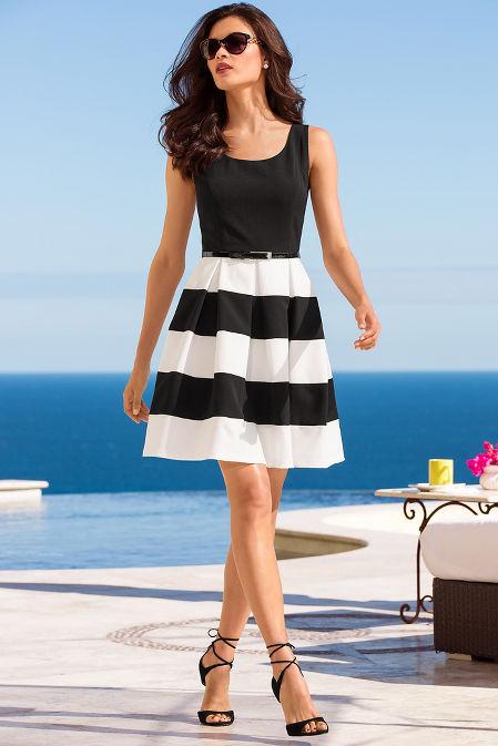 Stripe belted dress image