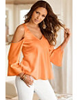 Cold Shoulder V-neck Blouse Photo