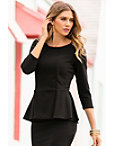 Travel Three-quarter Sleeve Peplum Top Photo