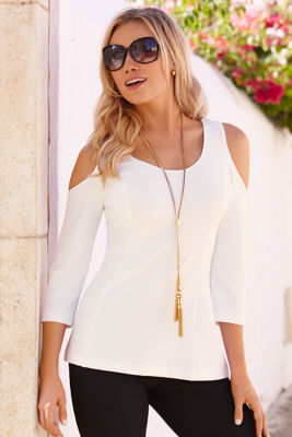 Travel cold-shoulder tunic top