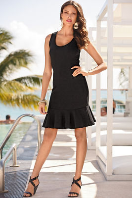 Travel scoop-neck flutter dress