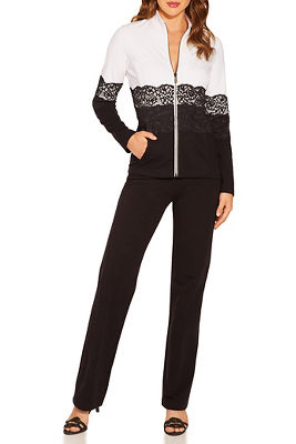 Display product reviews for Lace colorblock two-piece warm-up set