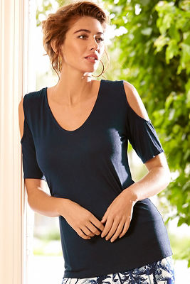 Cold shoulder V neck top