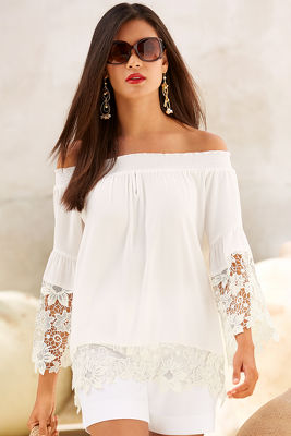 Off-the-shoulder lace trim blouse