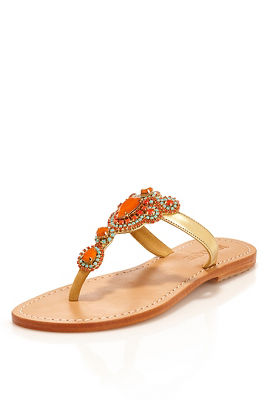 Turquoise and coral sandal