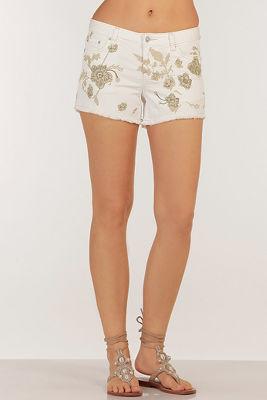 Floral embroidered short