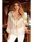 Pearl Ruffle Overlay Blouse Photo