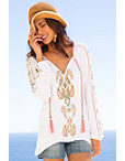 Embroidered Tassel Boho Top Photo