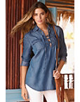 Lace-up Chambray Top Photo
