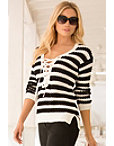 Stripe Lace-up Sweater Photo