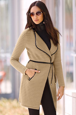 Textured wrap sweater coat
