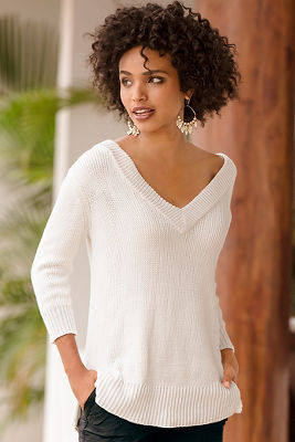 Double v ribbed sweater