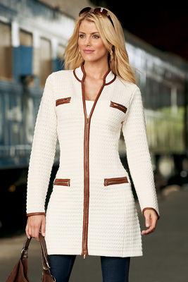 textured sweater coat
