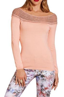 Embellished illusion sweater