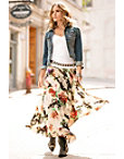 Floral Pleated Maxi Skirt Photo