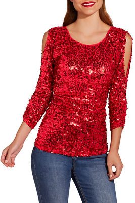 Sequin cold-shoulder top
