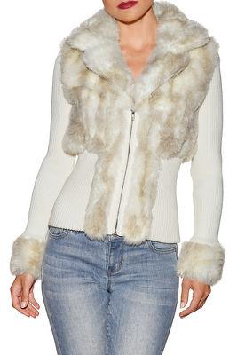 Snow bunny zip-front cardigan