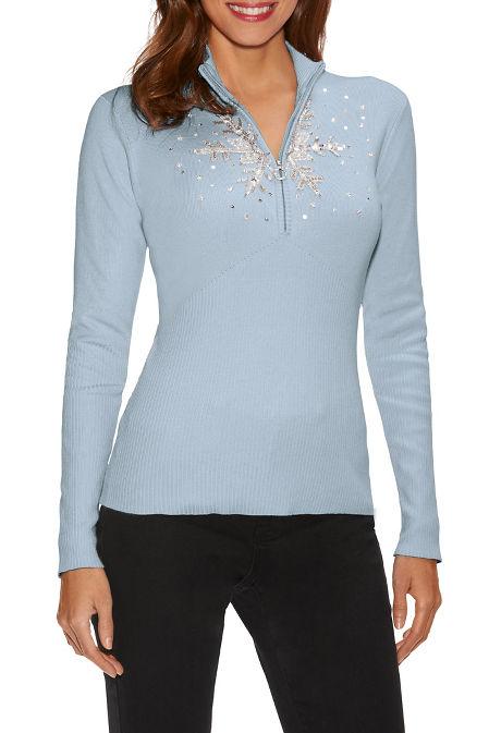 Snowflake zip sweater image