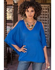 Cold-shoulder Poncho V-neck Top Photo