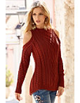 Chunky Turtleneck Cold-shoulder Sweater Photo