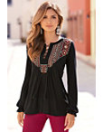Embroidered Lace-up Tunic Top Photo