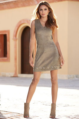 Faux suede grommet dress