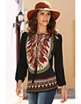 Feather Print Tribal Tunic Top Photo