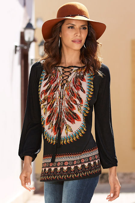 Feather print tribal tunic top image