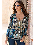 Indigo Blue Ikat Tunic Top Photo