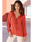 Lace-up Grommet Blouse Photo