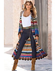 Multicolor Duster Sweater Coat Photo