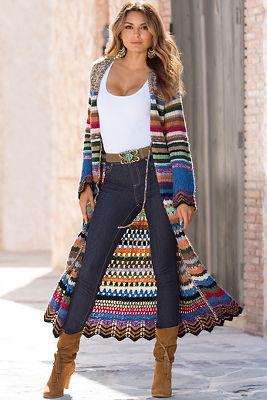 Multicolor duster sweater coat