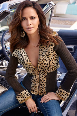 Leopard trim snow bunny sweater