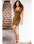 Faux Suede Ruched Dress Photo