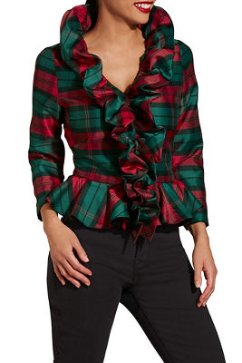 Plaid ruffle shirt