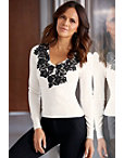 Contrast Lace Front Sweater Photo