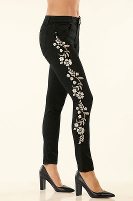 Embroidered high rise skinny jean