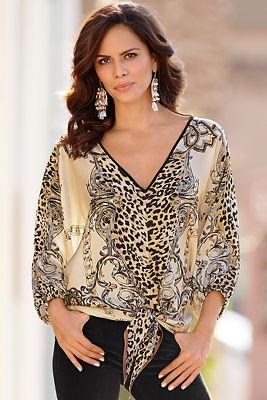 Leopard chain tie blouse