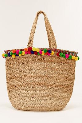 Pom-pom straw tote bag
