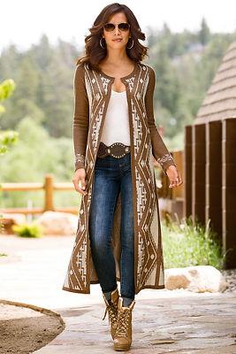 Aztec duster sweater coat