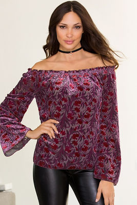 Burnout velvet off-the-shoulder blouse 2339790800